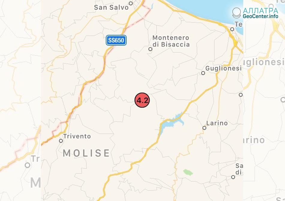 Землетрясение в южной Италии, апрель 2018 г.