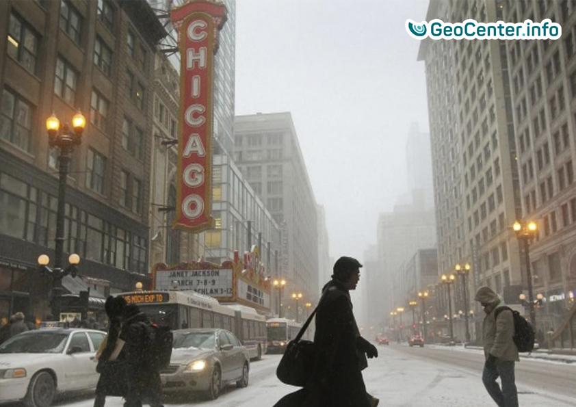 Снегопад в Чикаго, февраль 2018