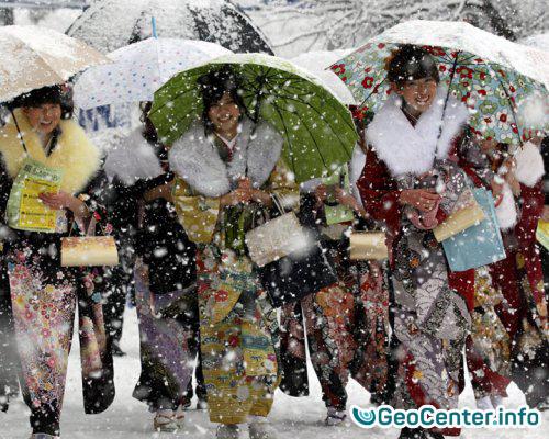Последствия снегопадов в Японии