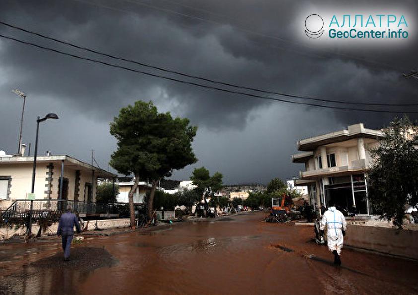 Непогода в Греции, сентябрь 2018