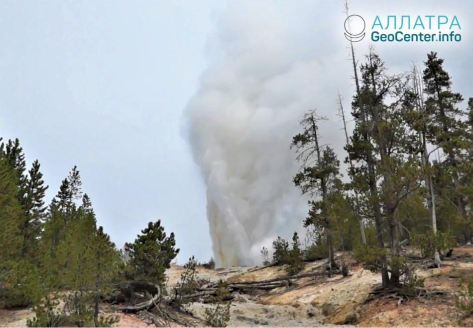 Кальдера Йеллоустоун: извержение Гейзера Пароход, август 2018 г.