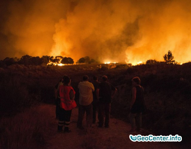 The evacuation of people in the Canary Islands due to a forest fire, Spain September 2017