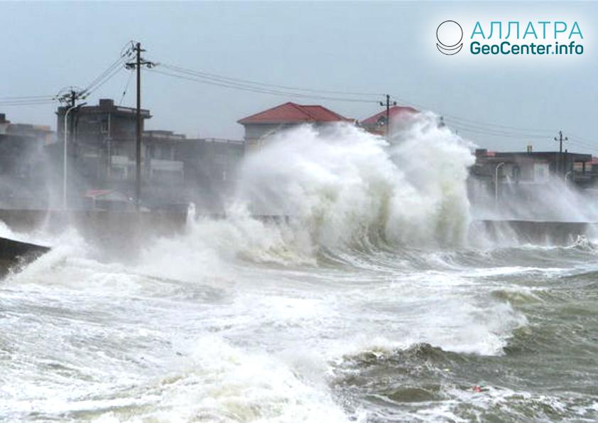 Тайфун в Тайване, июль 2018