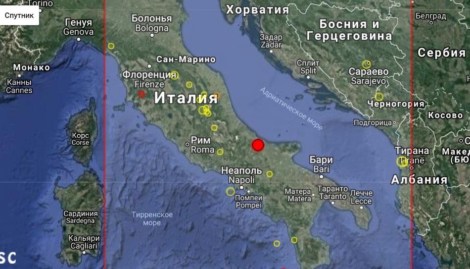 Землетрясение в Италии магнитудой 4,9, август 2018 г.