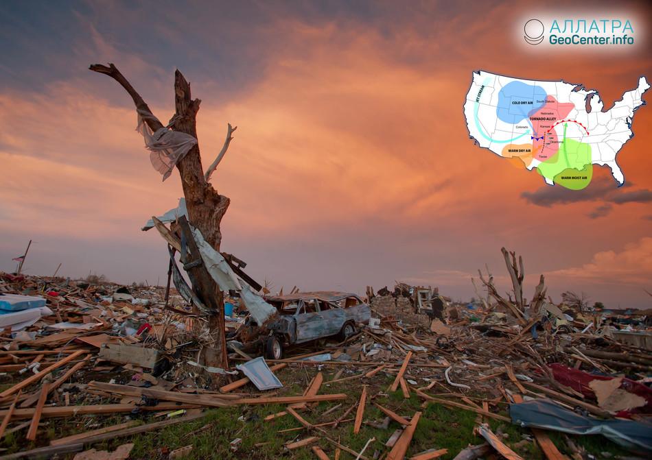 """""""Аллея торнадо"""" дрейфует на восток, США, октябрь 2018 года"""