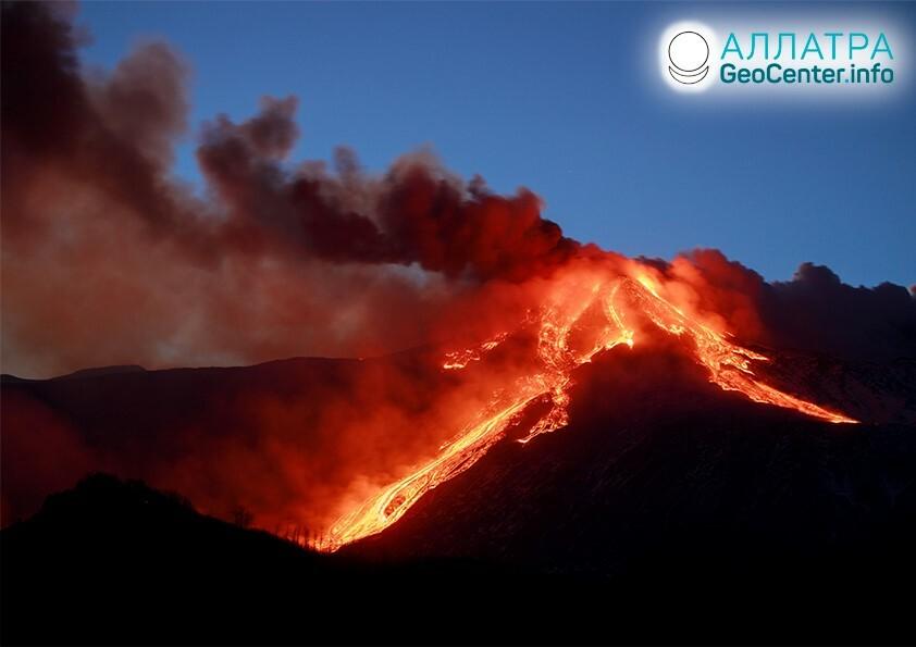 Активность вулкана Этна в Италии