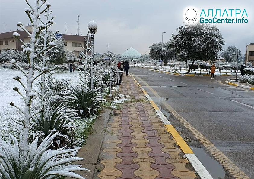 Anomálne sneženie v Iraku, február 2020
