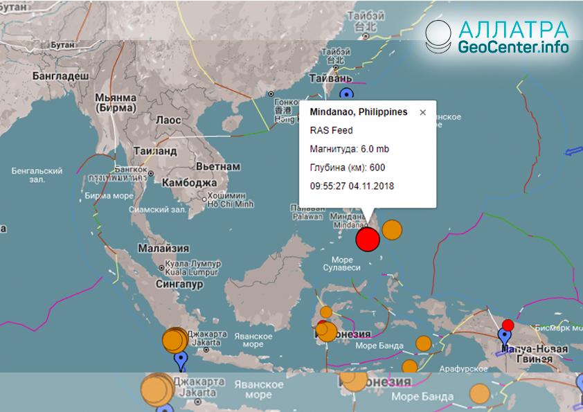 Сильное землетрясение на Филиппинах 4 ноября 2018 года