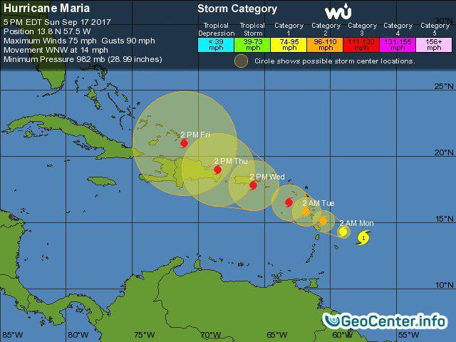 В Атлантическом океане сформировался ураган Мария, сентябрь 2017