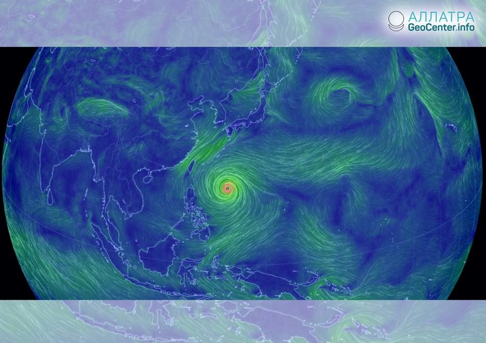 Новый тайфун в Тихом океане, сентябрь 2018 г.