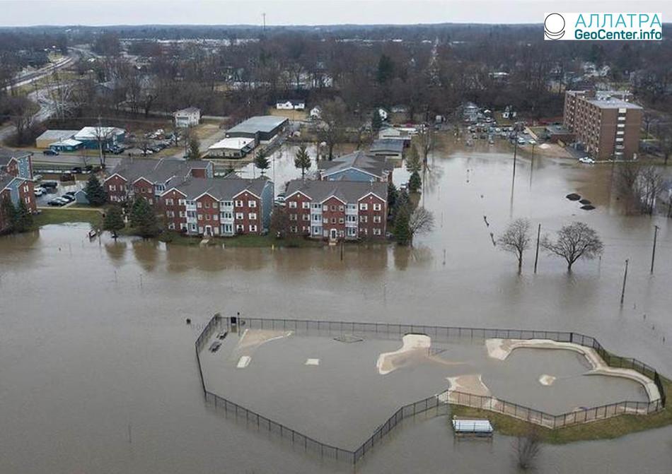 Наводнение в США. штат Мичиган и Индиана, февраль 2018