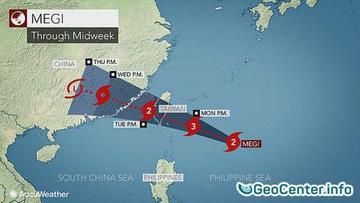 Тайфун Меги приблизится к острову Тайвань 27 сентября 2016