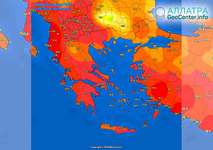 Температурный рекорд в Албании 3 ноября 2018 г.