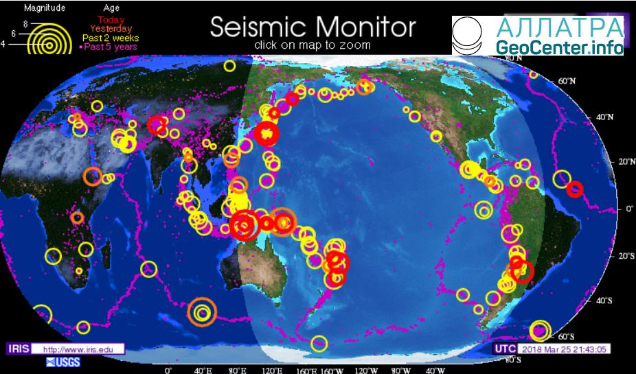 Обзор землетрясений за 25 марта 2018 года магнитудой свыше 5,0