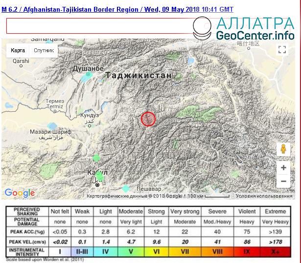 Землетрясение магнитудой 6,2  на границе Афганистана и Таджикистана, 9 мая 2018 г.