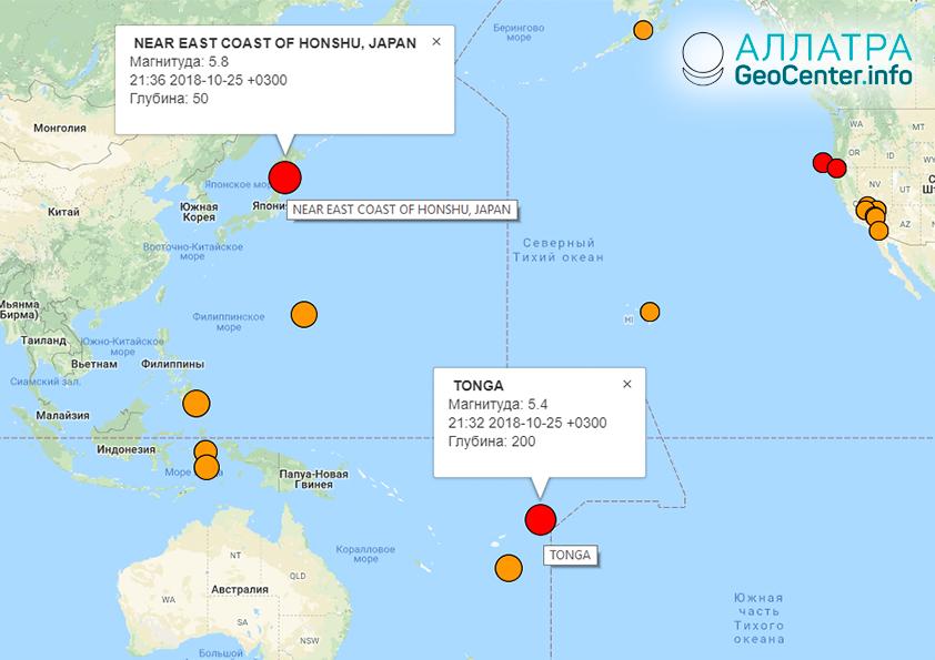 Япония и Тонга: крупные землетрясения 24 октября 2018 г.