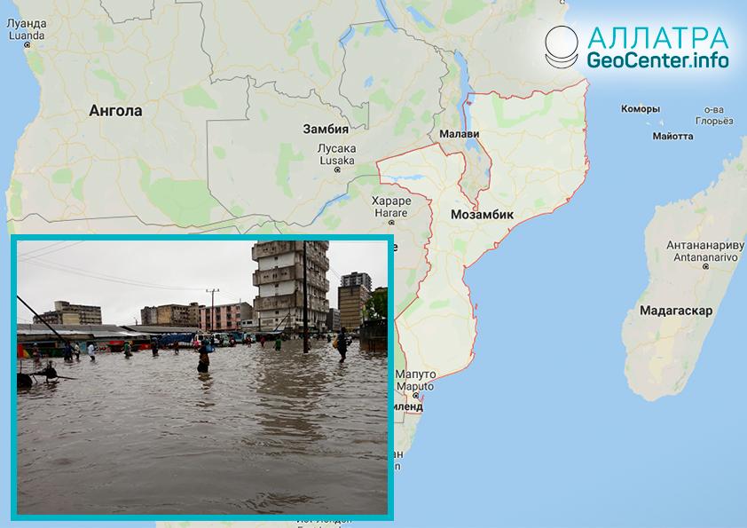 """Циклон """"Десмонд"""" вызвал наводнение в Мозамбике, январь 2019"""