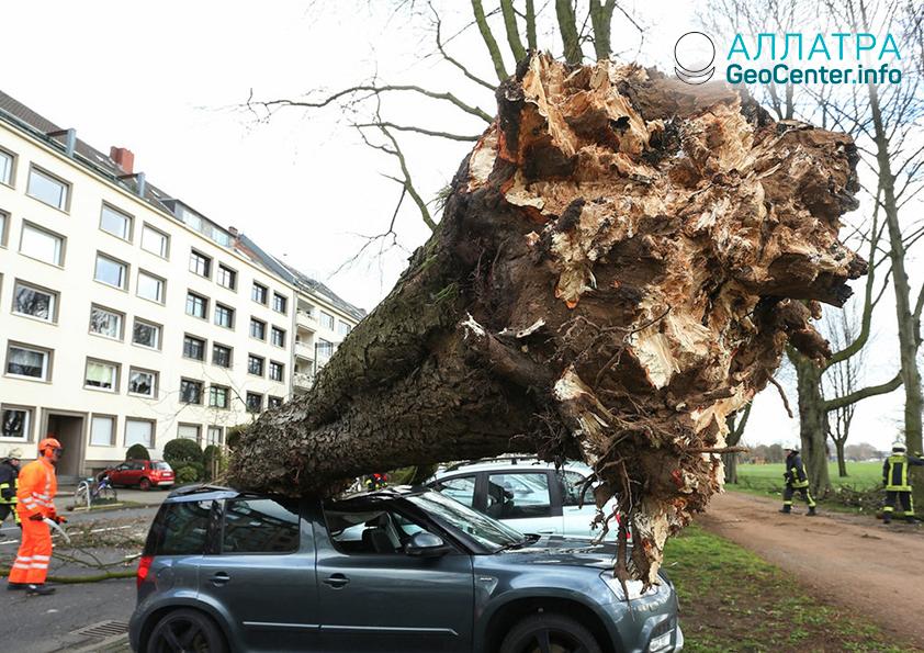 Cyklón Eberhard vNěmecku, březen 2019