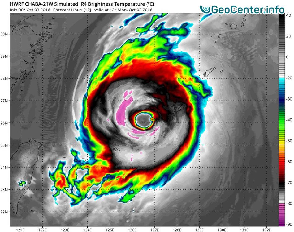 "Супертайфун ""Чаба"" достиг наивысшей 5 категории опасности"
