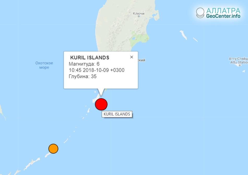 Крупное землетрясение у берегов Северных Курил 9 октября 2018 г.
