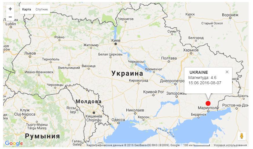 На востоке Украины произошло землетрясение 4,9 баллов, 7 августа 2016