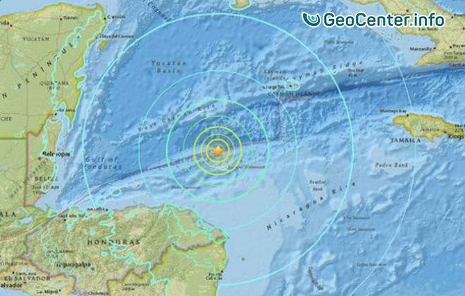 Мощное землетрясение у побережья Гондураса, 10 января 2018