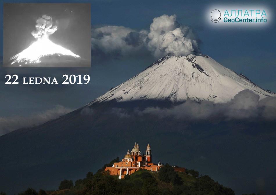 Hořící mračno vyšlehlo ze sopky Popocatépetl, 22. ledna 2019