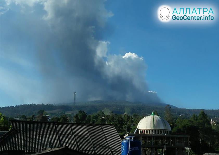 Erupcia sopky, mlčiacej 36 rokov, Indonézia, júl 2019