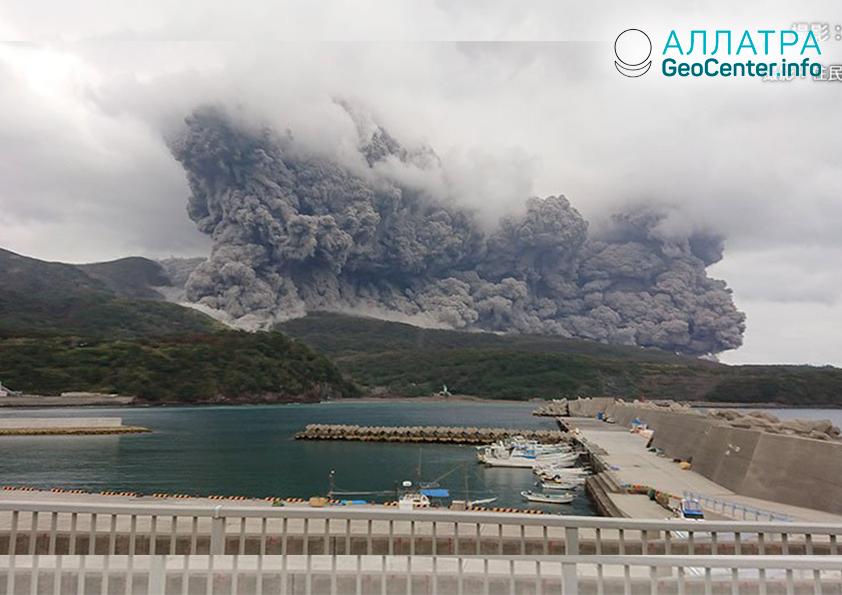 Извержение вулкана на японском острове, январь 2019