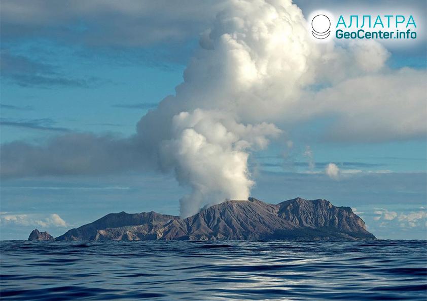 Извержение вулкана в Новой Зеландии, декабрь 2019
