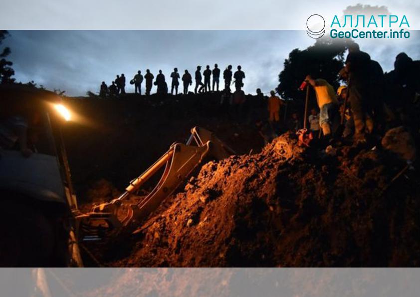 Крупный оползень в Колумбии, апрель 2019