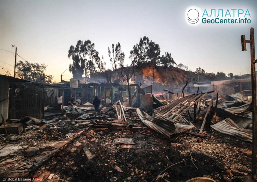 Лесной пожар в Чили, декабрь 2019
