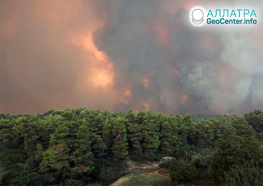 Lesné požiare v Grécku, august 2019
