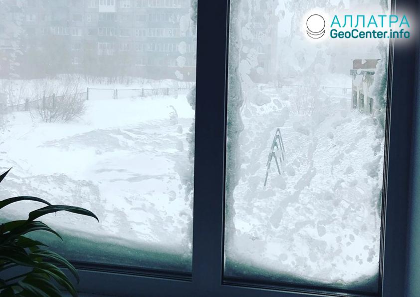 Květnové sněžení ve Vorkutě (Rusko), květen 2019