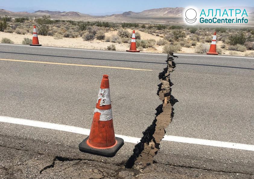 Мощные землетрясения в Калифорнии (США) и Канаде, июль 2019