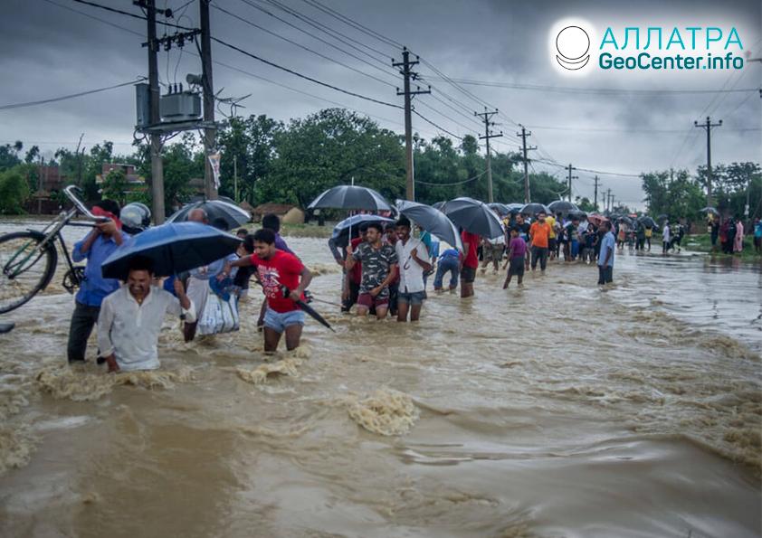 Povodně a sesuvy půdy v Nepálu, červenec 2019
