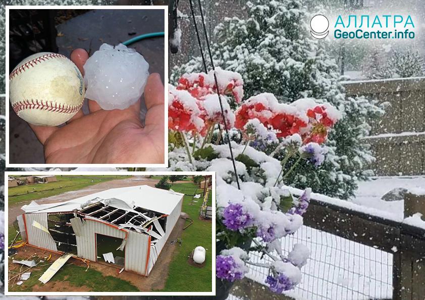 Špatné počasí v USA. Tornáda, velké kroupy a sněžení. Květen 2019