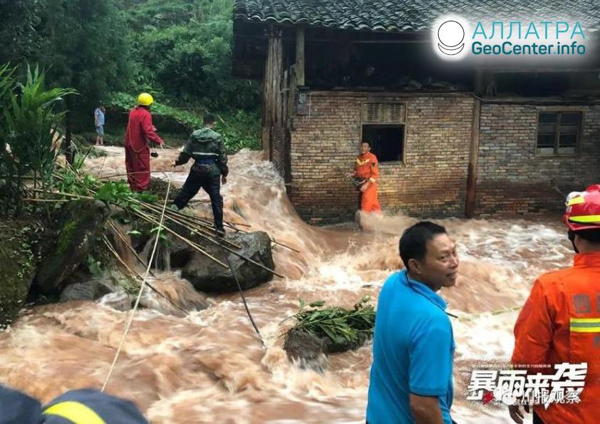 Оползни и наводнения в странах мира, август 2020