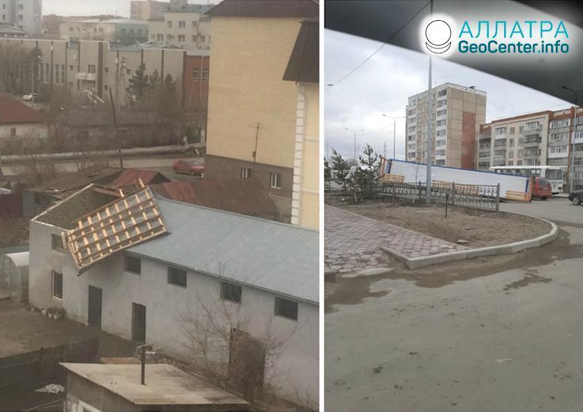 Kazachstanom sa prehnal uragán, apríl 2020