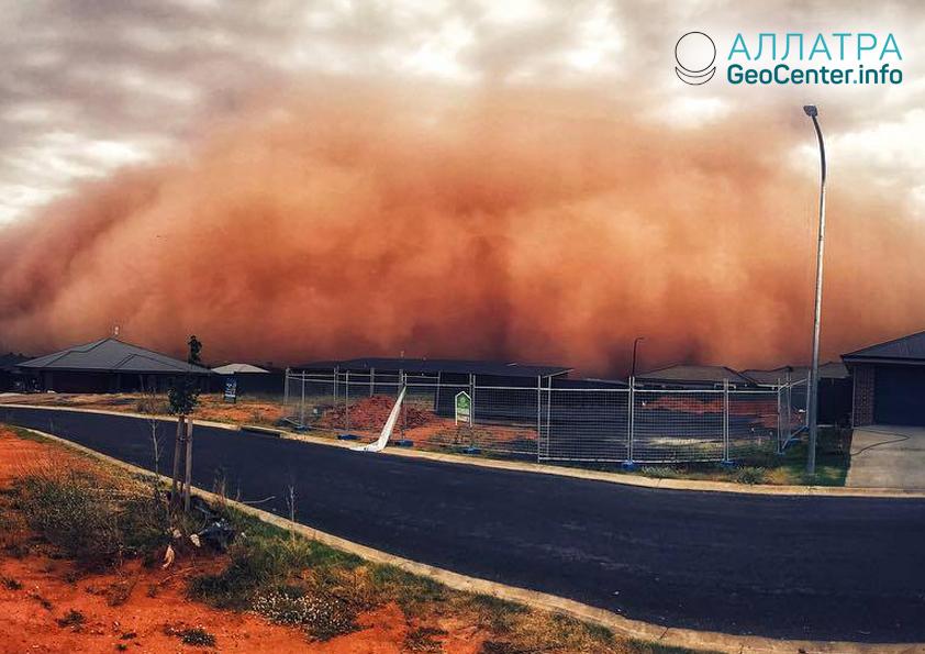 Prachová búrka v Austrálii, január 2019