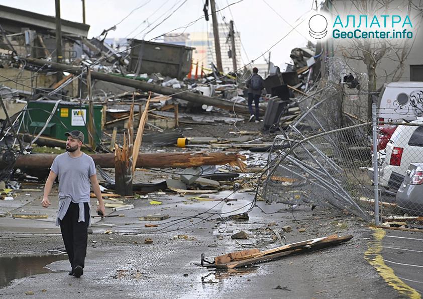 Разрушительные торнадо в США, март 2020