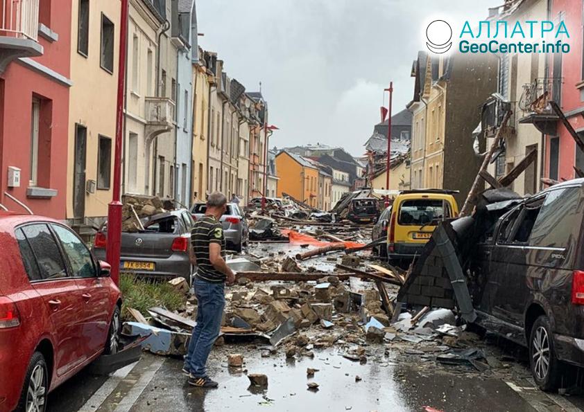 Ničivé tornádo vLuxembursku, august 2019