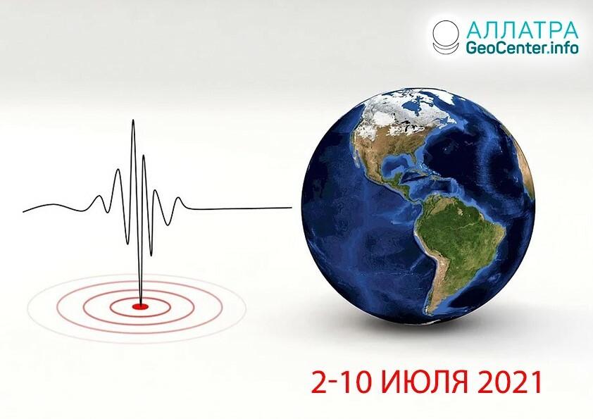 Сейсмическая активность, начало июля 2021