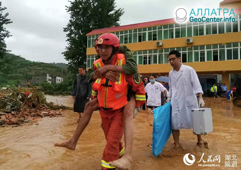 Séria záplav v Číne, august 2019