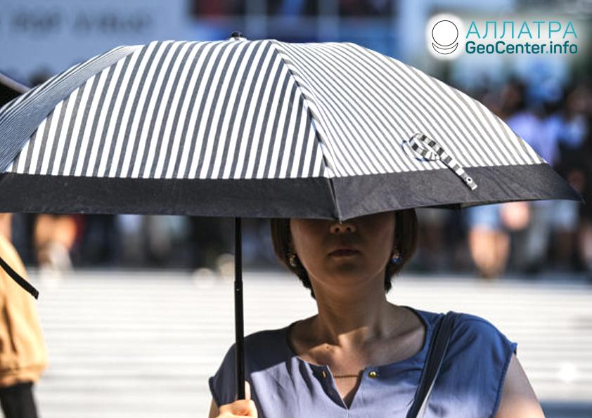 Сильная жара в Японии, август 2019