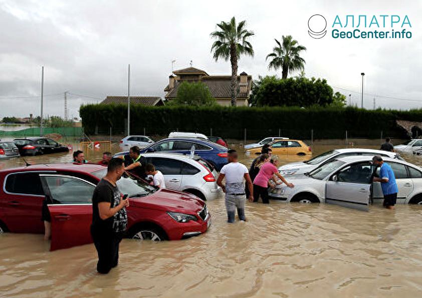 Silné dažde v Španielsku, september 2019