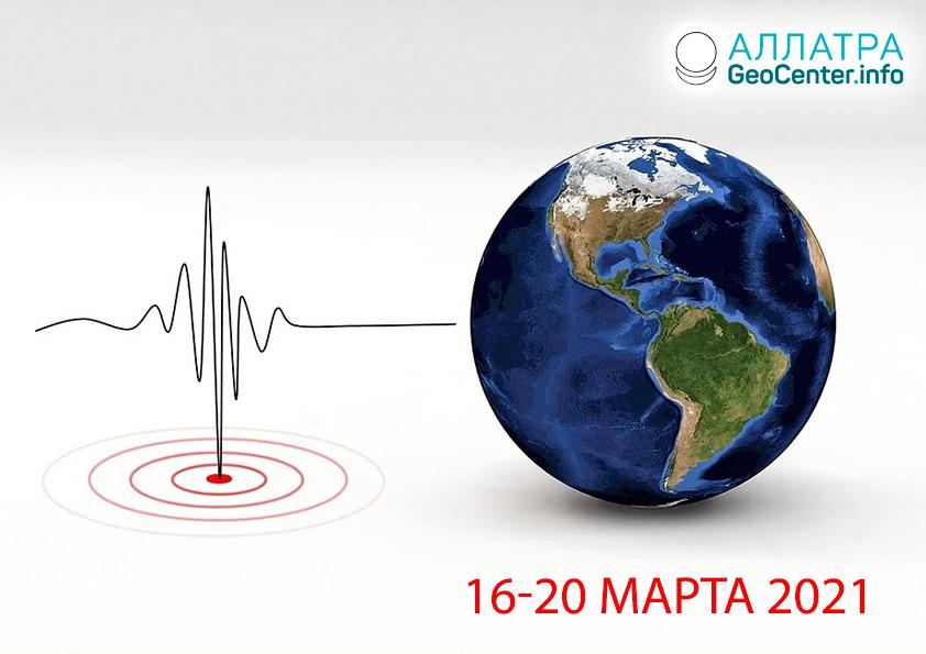Сильные землетрясения 16 - 20 марта 2021 года