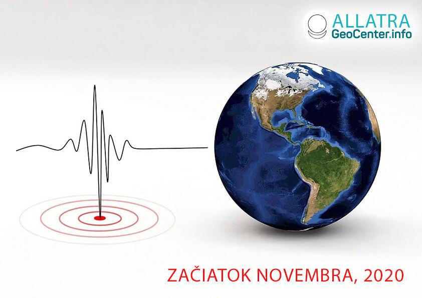 Silné zemetrasenia, november 2020