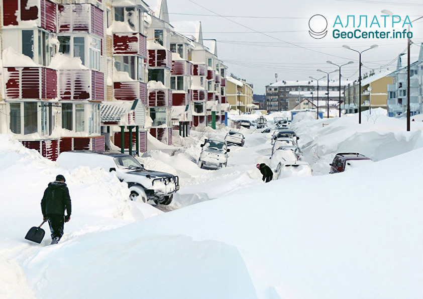 Снегопад на Сахалине, декабрь 2018