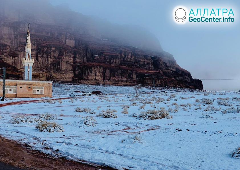 Sneženie v Saudskej Arábii, január 2020